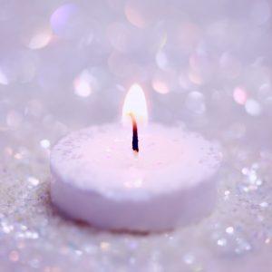 lilac candle burning